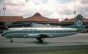 Bouraq Indonesia Airlines - A Vickers Viscount of Bouraq at Soekarno–Hatta International Airport in 1992.