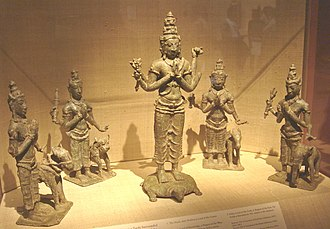 Guardians of the directions - Brahma, Lord of the Zenith (center) with (from left) Varuna, Kubera, Yama and Indra.