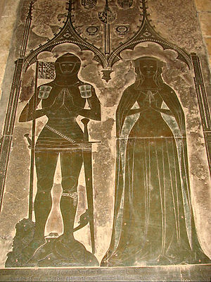 Monumental brass - Monumental brass of Simon de Felbrigge and wife Margaret of Teschen, St Margaret's Church, Felbrigg, Norfolk.