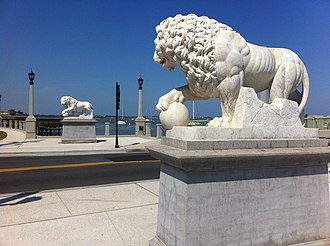 St. Augustine, Florida - Replicas of the Medici lions of Florence, Italy at the approach to the Bridge of Lions donated by Andrew Anderson