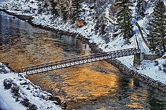Crystal Reservoir - Bridge over Crystal Reservoir at Mesa Creek Trailhead near Cimarron.