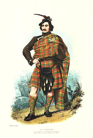 Clan Buchanan - A romantic depiction of a clan Duine Uasal (pronounced Dunnie-wassal) illustrated by R. R. McIan, from James Logan's The Clans of the Scottish Highlands, 1845.