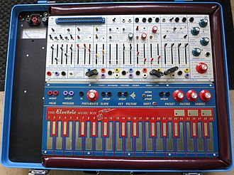 Analog synthesizer - The Buchla Music Easel included a number of fader-style controls, switches, patch cord-connected modules, and a keyboard.