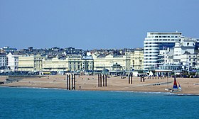 The buildings of the western part of Brighton seafront (and just into Hove) as seen from the Palace Pier