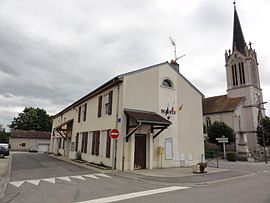 The town hall and church in Buissoncourt
