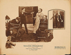 H. C. McNeile - Lobby card for US screenings of the 1922 film, Bulldog Drummond