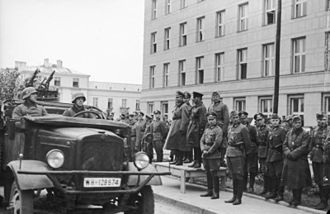 Brest, Belarus - German–Soviet military parade in Brest-Litovsk at the conclusion of the Invasion of Poland. In the center Major General Heinz Guderian from Wehrmacht and Brigadier Semyon Krivoshein from the Red Army
