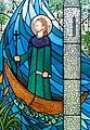 Bundoran Church of Our Lady, Star of the Sea Rosary Chapel Magh Ene Window by Jo Tinney Detail Saint Ninnidh on his boat 2013 09 19.jpg