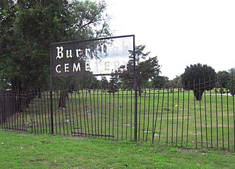Burr Oak Cemetery - Photograph of the side entrance to Burr Oak Cemetery on 127th Street, 2009.