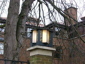 Burrell's Field main entrance lantern close-up