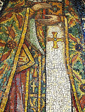 Byzantine-style mosaic at a church in Bucharest
