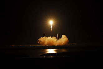 SpaceX launch facilities - Falcon 9, Flight 3, above SpaceX Cape Canaveral launch complex, May 2012.