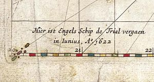 Tryall - This is the first known charting of the Tryal Rocks on a 1627 map by Hessel Gerritsz (fragment of Caert van't Landt van d'Eendracht)