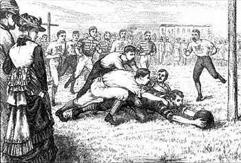 English: Europeans playing rugby football in C...