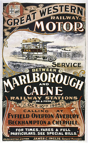 Marlborough railway stations - Poster for road motor service to Calne 1904