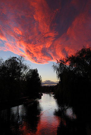 Sunset over the River Cam in Cambridge.