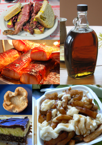 Canadian cuisine - A small sampling of Canadian foods. Top to bottom, left to right: Montreal-style smoked meat, maple syrup, peameal bacon, butter tart, poutine, Nanaimo bar