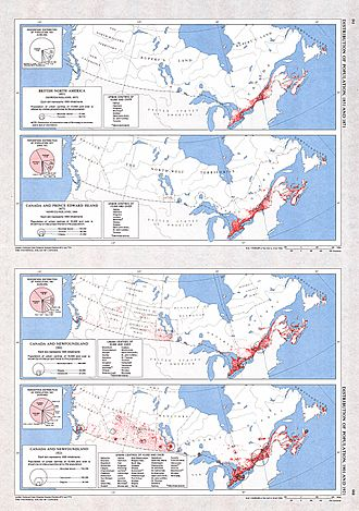 Immigration to Canada - A collection of four maps showing the distribution of the Canadian population for 1851 (Newfoundland 1857), 1871 (Newfoundland 1869), 1901 and 1921 by historical region.