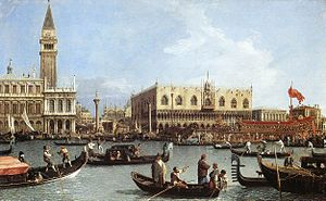 1732 in art - Image: Canal, Giovanni Antonio (Canaletto) Return of the Bucentoro to the Molo on Ascension Day, c. 1733 4. Royal Collection Buckingham Palace