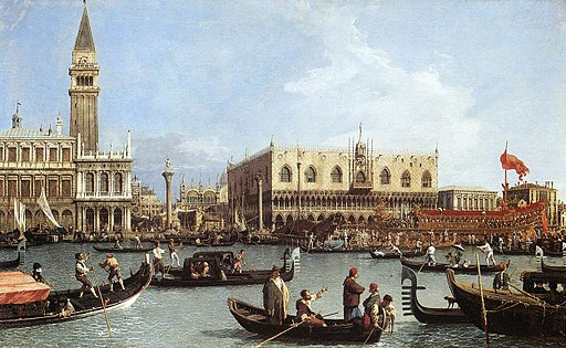 Canal, Giovanni Antonio (Canaletto) - Return of the Bucentoro to the Molo on Ascension Day, c. 1733-4. Royal Collection Buckingham Palace