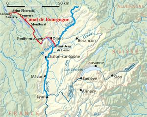 Canal de Bourgogne - Current route of the Canal de Bourgogne.