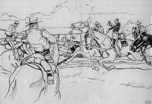 Battle of San Pasqual - Captain Archibald Gillespie of the Marines was attacked by lancers, front and rear, at San Pascual