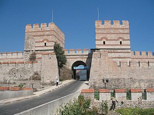 Belgradkapı - A restored section of city walls at Belgradkapı Gate, close to Marmara coast