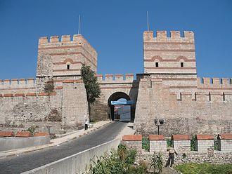 Belgradkapı - A restored section of city walls at Belgradkapı Gate, close to Marmara coast
