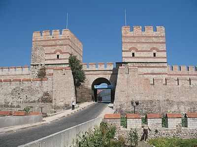 A restored section of city walls at Belgradkapı Gate, close to Marmara coast