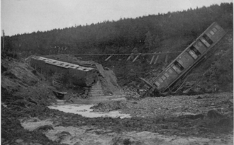 Rail accidents at Carrbridge - Photograph of the accident by J. Barron of Inverness, published in The Sphere, 27 June 1914
