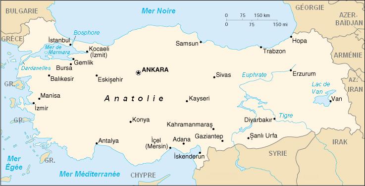 Carte de la Turquie FR