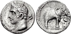 A Carthaginian quarter-shekel, dated 237-209 BC, depicting the Punic god Melqart (who was associated with Hercules/Heracles). On the reverse is an elephant; possibly a war elephant, which were linked with the Barcids. Carthage, quarter shekel, 237-209 BC, SNG BM Spain 102.jpg