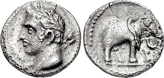 Hannibal - A quarter shekel of Carthage, perhaps minted in Spain; the obverse may depict Hannibal with the traits of a young Melqart; the reverse features one of his famous war elephants.
