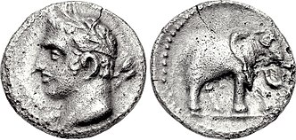 A quarter shekel of Carthage, perhaps minted in Spain. The obverse may depict Hannibal under the traits of young Melqart. The reverse features one of his famous war elephants. Carthage, quarter shekel, 237-209 BC, SNG BM Spain 102.jpg