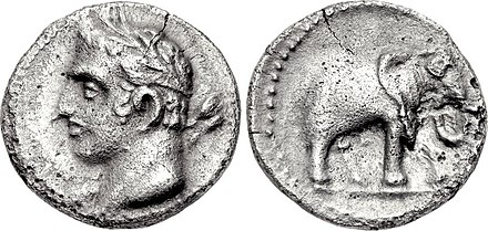 A quarter shekel of Carthage, perhaps minted in Spain; the obverse may depict Hannibal with the traits of a young Melqart; the reverse features one of his famous war elephants. Carthage, quarter shekel, 237-209 BC, SNG BM Spain 102.jpg