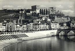Cartolina di Castel San Pietro con la funicolare
