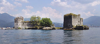rock islets in Maggiore Lake in Italy