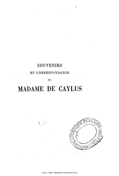 File:Caylus - Souvenirs et correspondance.djvu