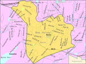 Butler, New Jersey - Image: Census Bureau map of Butler, New Jersey