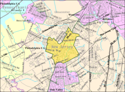 Census Bureau map of Woodbury, New Jersey