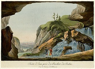 Discovery of human antiquity - Waterfall seen from a cave in Solothurn, Switzerland; engraving of the later 18th century.