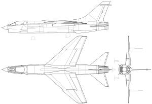 3-side view of the F-8E.