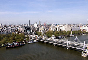 Charing Cross railway station - Trains to and from Charing Cross go over Hungerford Bridge to cross the River Thames.