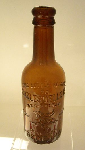 Charles Wells Ltd - Late 19th / early 20th century beer bottle with old Charles Wells starfish trademark, on display at The Higgins.