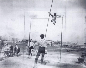 Charles Dvorak - Dvorak competing at the 1904 Summer Olympics in St. Louis (Missouri Historical Society photograph)