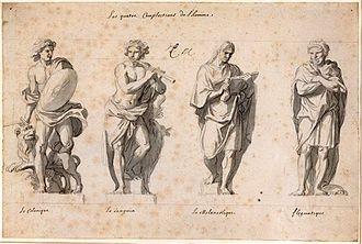Four temperaments - Choleric, sanguine, melancholic, and phlegmatic temperaments: 17c., part of the Grande Commande