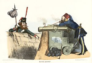 Siege of Calafat - French cartoon mocking the Russians, published by Le Charivari.