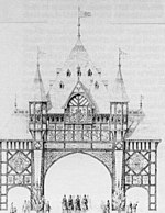 "An elevated view of a black-and-white drawing of an elaborate arched structure. At the bottom are three arches, the central one being the largest.  Above these is a highly decorated spire with smaller turrets on each side.  Under the spire are friezes containing crowns and heraldic shields, and the inscription ""WELCOME EARL and COUNTESS of CHESTER""."
