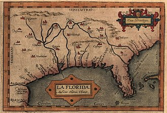 Florida - Map of Florida, likely based on the expeditions of Hernando de Soto (1539–1543).
