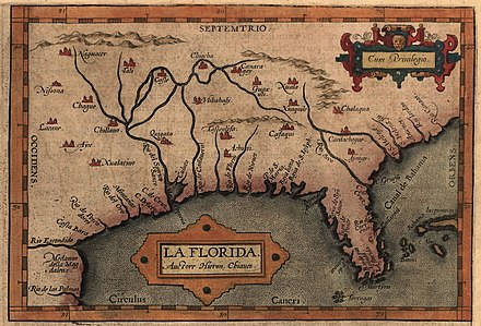 Map of Florida, likely based on the expeditions of Hernando de Soto (1539-1543) Chiaves-la-florida-1584.jpg